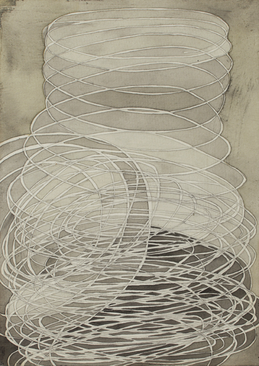 Coil #2, 2009, gouache & pencil on paper, 9 x 7 inches.