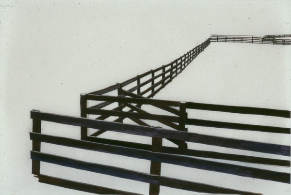 Fence II #5, 2003, gouache on mylar 5 x 8 inches.