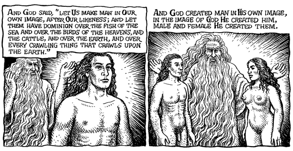 R. Crumb, frame from THE BOOK OF GENESIS ILLUSTRATED, 2009. Courtesy W.W. Norton &amp; Company. 