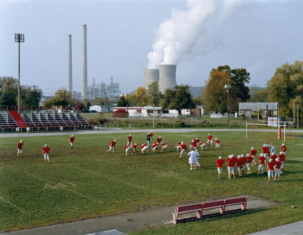 POCA HIGH SCHOOL AND AMOS COAL POWER PLANT, WEST VIRGINA. From the series AMERICAN POWER, 2004. C-print, 70x92 inches. Courtesy of Sikkema Jenkins & Co., New York.