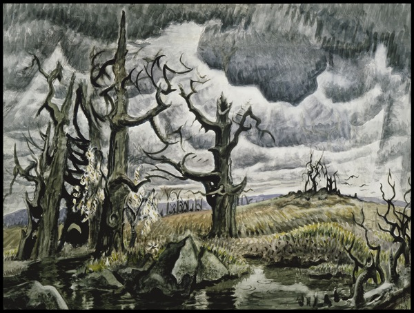 AN APRIL MOOD, 1946–55. Watercolor and charcoal on joined paper, 40 x 54 in. (101.6 x 137.2 cm). Whitney Museum of American Art. Purchase, with partial funds from Mr. and Mrs. Lawrence A. Fleischman.