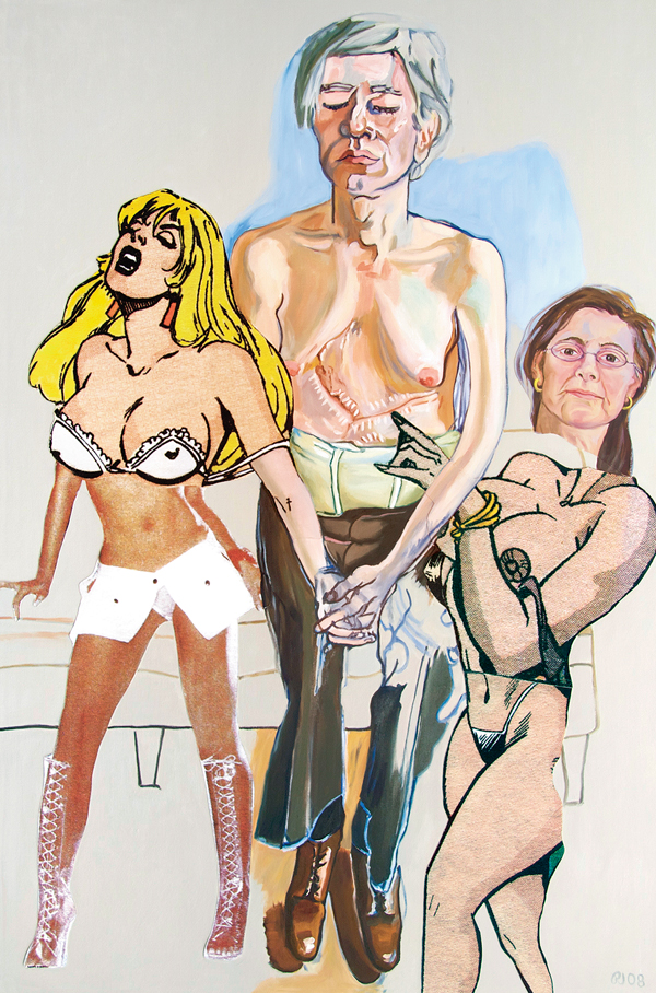 """Alice Neel's Andy and Fans,"" 2008. Oil with Collage on Linen, 45 x 30 in."
