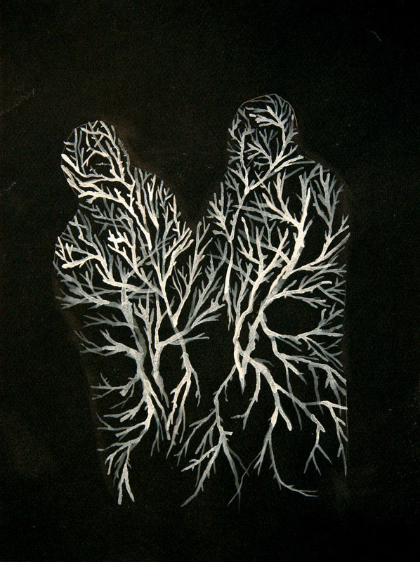 R.D. Gluibizzi; ROOT COUPLE; Ink on paper; 12 x 9 inches. Courtesy of the artist and Pierogi Flat Files.
