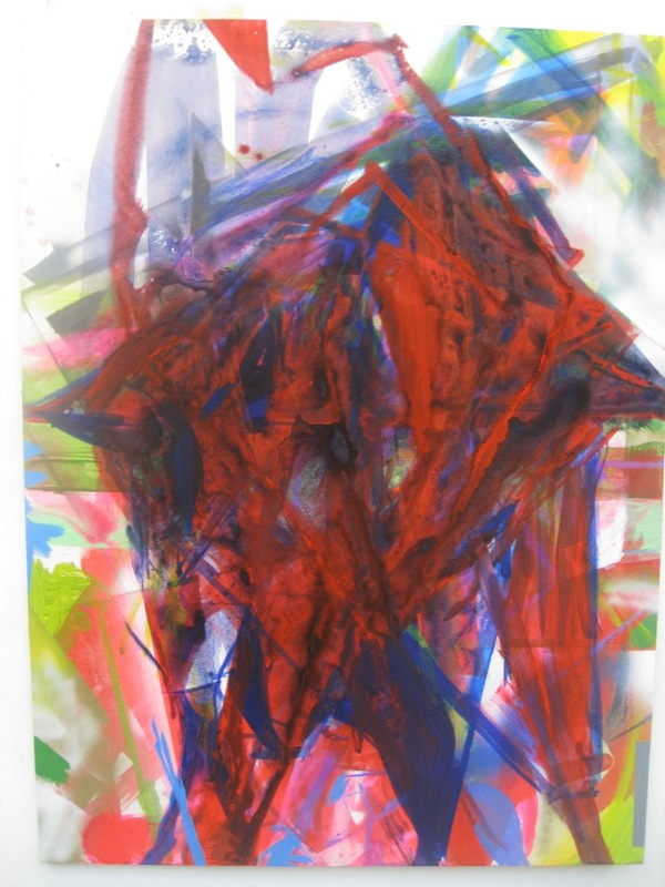 Cheryl Donegan, UNTITLED, 2009, acrylic and spraypaint on canvas, 30 x 40 inches.