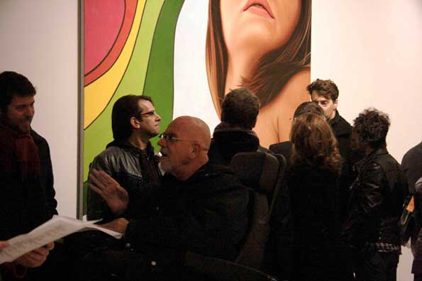 Artist Chuck Close at the opening of &quot;Size Does Matter,&quot; Feb. 19, Flag Art Foundation. (c) Cheree Franco. 